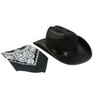 Black Cowboy Hat with Bandana