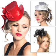 Mini Satin Hat with Flower and Bow