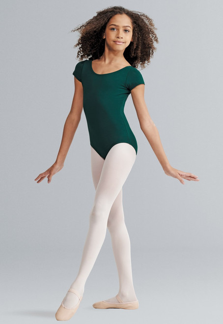 Capezio Short Sleeve Cotton Bodysuit, shown in Hunter.