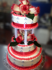 Model# 33001 - Natural Roses with Peach Ribbon & Lavender Deco