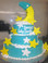 "Approximate Servings 80. Sizes: 7"", 10"" & 14"". Sugar stars and NON-EDIBLE moon themed three tiered cake."