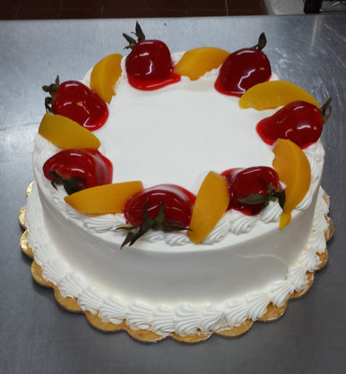 Tres Leches Cake Strawberries Peaches F 9 LGV Bakery