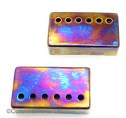 Iridium (burnt chrome) finish humbucker pickup cover pair