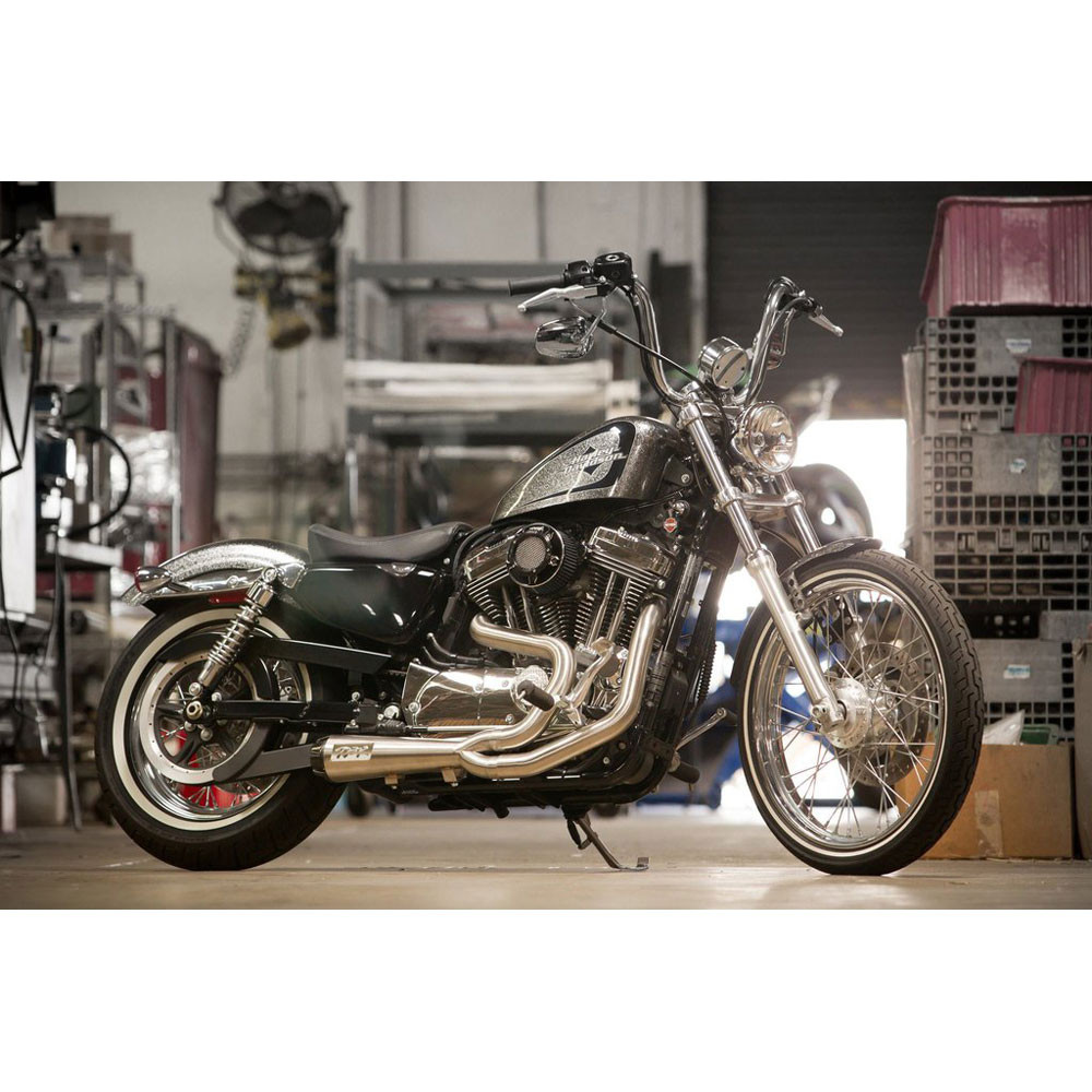 Two Brothers Racing 2-Into-1 Comp-S Exhaust for 2014-2017 Harley Sportster - Stainless with Carbon Fiber Tip