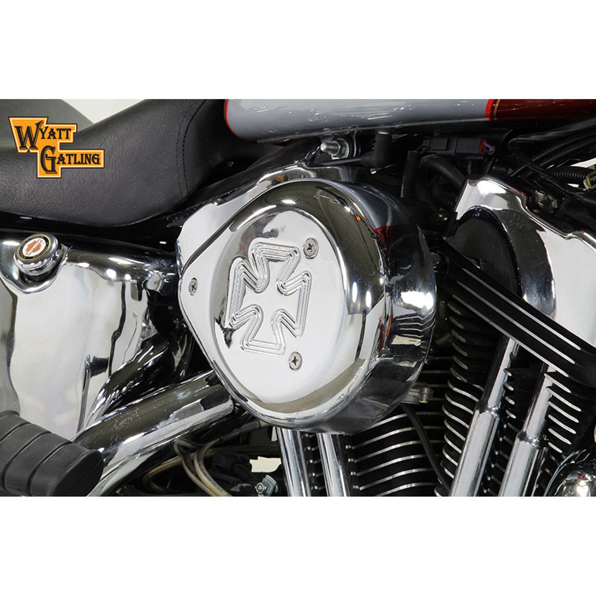 Maltese Cross Air Cleaner : V twin chrome maltese cross teardrop air cleaner for
