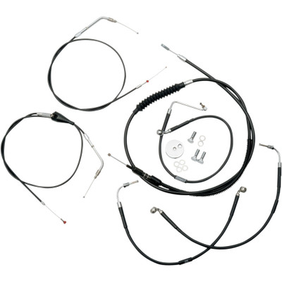 """LA Choppers Black Vinyl/Stainless  12""""-14"""" Cable Kit for 1996-2007 Harley Touring"""