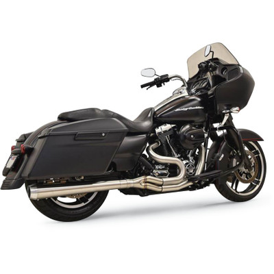 Bassani Long Road Rage III Stainless 2-Into-1 Exhaust System for 1995-2016 Harley Touring - Megaphone Muffler