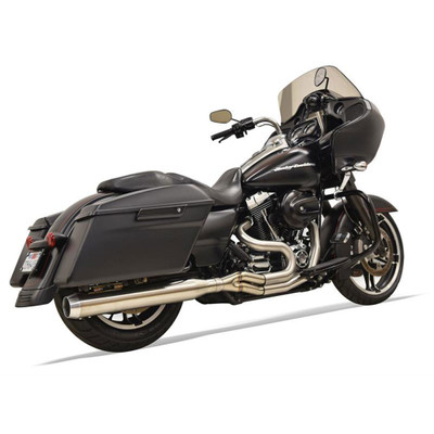 """Bassani Long Road Rage III Stainless 2-Into-1 Exhaust System for 1995-2016 Harley Touring - 4"""" Straight Can Muffler"""