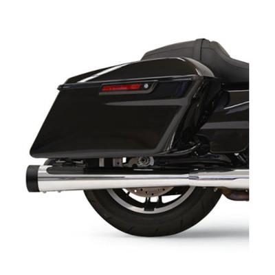 "Bassani 4"" DNT Megaphone Mufflers for 2017 Harley Touring - Chrome with Black End Caps"