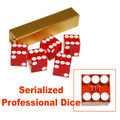 Copy of Copy of 19mm A Grade Serialized Set of Casino Dice-Red
