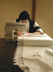 carmelite sister making altar cloth