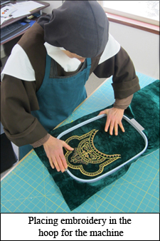 hooping embroidery, vestment embroidery