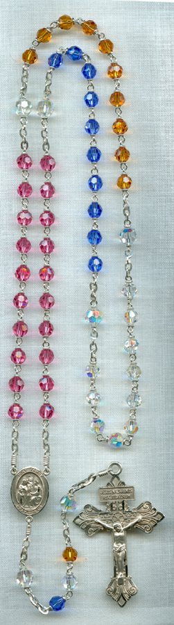 multi colored birthstone rosary