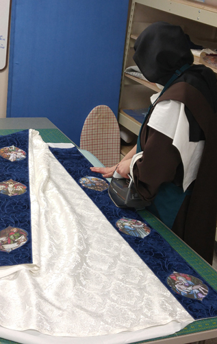 presentation cope, blessed mother cope, vestment making