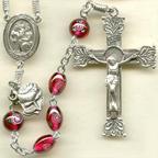 Oval Garnet Lampwork Rosary