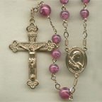 Pink Lampwork Rosary
