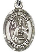 """St. John the Apostle - .50"""" Oval - Sterling Silver Side Medal"""