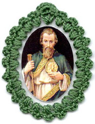 Crocheted relic badges of St. Jude, badge of St. Jude Thaddeus, Patron of Hopeless Causes / Cases, with relic, cloth touched to the relic of the saint