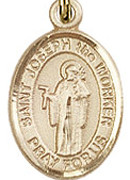 """St. Joseph the Worker  - .50"""" Oval - Gold Filled Side Medal"""