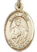 "St. Jude Thaddeus - .50"" Oval - Gold Filled Side Medal"
