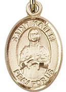 """St. Kateri Tekakwitha - .50"""" Oval - Gold Filled Side Medal"""