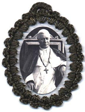 Crocheted relic badges of St. Pius X, Defender of True Doctrine, badge of St. Pius X with relic, cloth touched to the relic of the saint