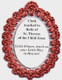 Crocheted relic badges of St. Therese of the Child Jesus relic badge back