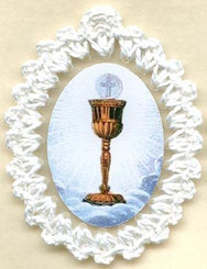 Crocheted Holy Eucharist relic badge, religious badges, cloth touched to relic of the Upper Room