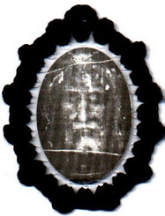 Crocheted relic badge of the Holy Face, religious badges with the Face of Christ from the Holy Shroud of Turin with relic, cloth touched to True Cross