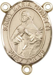 "St. Maria  Goretti  - .75"" Oval - Gold Filled Centerpiece"