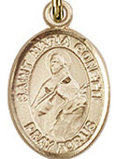 """St. Maria  Goretti - .50"""" Oval - Gold Filled Side Medal"""
