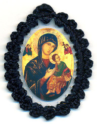 Crocheted relic badges of Our Lady of Perpetual Help, badge of Our Lady of Perpetual Help with relic, cloth touched to veil of Blessed Virgin Mary