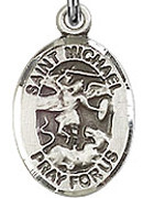 "St. Michael the Archangel - .50"" Oval - Sterling Silver Side Medal"