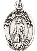 "St. Peregrine Laziosi - .50"" Oval - Sterling Silver Side Medal"