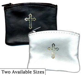 Genuine Buttersoft Leather with Gold-stamped Cross Rosary Case