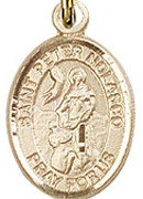 "St. Peter Nolasco - .50"" Oval - Gold Filled Side Medal"