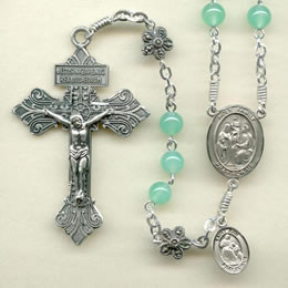 Rosary from a gallery of rosaries handmade by nuns: Chrysoprase beads with Sterling Silver Pardon Crucifix and parts, Marcasite Flower Our Father beads