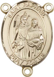 "St. Raphael the Archangel  - .75"" Oval - Gold Filled Centerpiece"