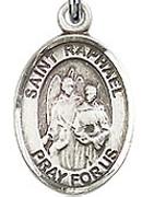 "St. Raphael the Archangel - .50"" Oval - Sterling Silver Side Medal"