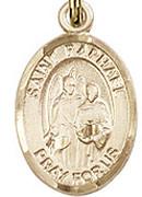 """St. Raphael the Archangel - .50"""" Oval - Gold Filled Side Medal"""