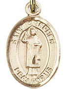 "St. Stephen the Martyr - .50"" Oval - Gold Filled Side Medal"
