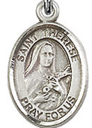 "St. Therese of Lisieux - .50"" Oval - Sterling Silver Side Medal"