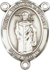 "St. Thomas Becket   - .75"" Oval - Sterling Silver Centerpiece"