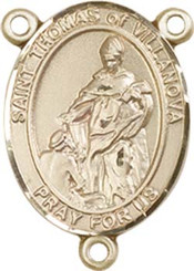 "St. Thomas of Villanova  - .75"" Oval - Gold Filled Centerpiece"