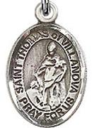 "St. Thomas of Villanova - .50"" Oval - Sterling Silver Side Medal"