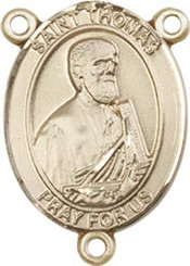 """St. Thomas the Apostle  - .75"""" Oval - Gold Filled Centerpiece"""