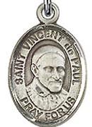"""St. Vincent de Paul - .50"""" Oval - Sterling Silver Side Medal"""