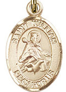 "St. William of Rochester - .50"" Oval - Gold Filled Side Medal"