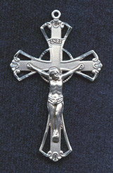 "Geometric Crucifix - 1.75"" - Sterling Silver"