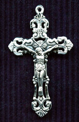 "Solid Filigree Crucifix - 2"" - Sterling Silver"